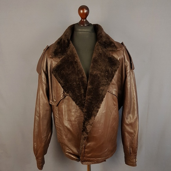 Gianni Versace Jackets Coats Jacket Leather Shearling Fur Men Xl
